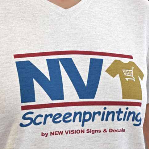 NV Screenprinting banner with woman wearing T-Shirt in hotel room.