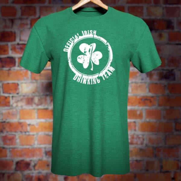 Official Irish Drinking Team T-Shirt (green). Funny novelty tee.